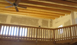 Here are the ceiling vigas and the upper loft.