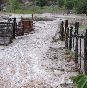 The river to the corrals & pasture.