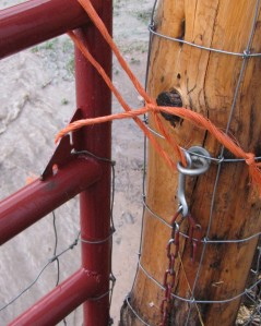 The flood snapped the chain, so I tied it closed with bailing twine.
