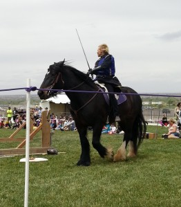 One of the lady equestrian jousters.